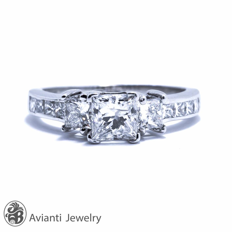 Diamond Ring Princess Diamond Engagement Ring Trio Princess Diamond Ring Square Cut Engagement Ring Princess Cut Diamond Ring Ldr01297 Avianti Jewelry